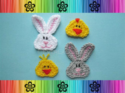 Bunny and Chick Applique - Crochet Pattern by EverLaughter