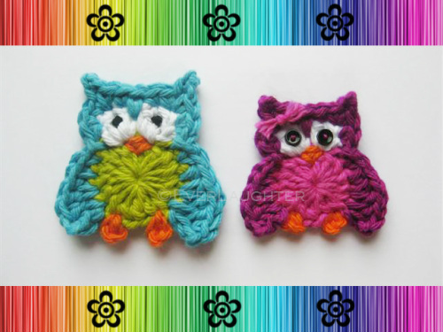 Oliver and Olivia Owl Applique - Crochet Pattern by EverLaughter