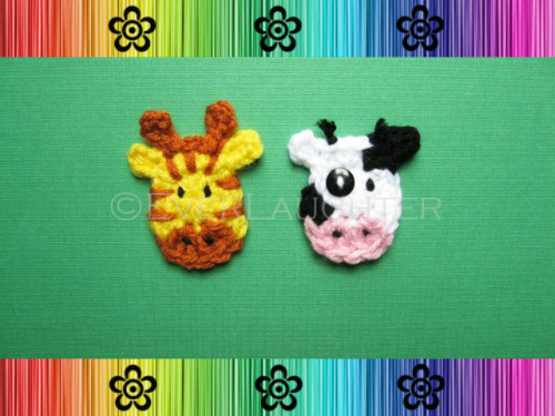 Cow and Giraffe Applique - Crochet Pattern by EverLaughter