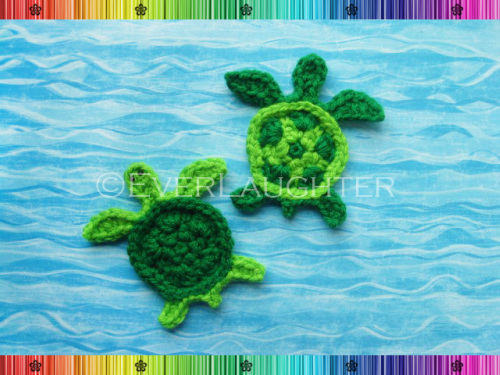 Turtle Applique - Crochet Pattern by EverLaughter