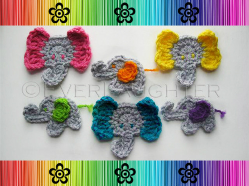 Elephant Applique - Crochet Pattern by EverLaughter