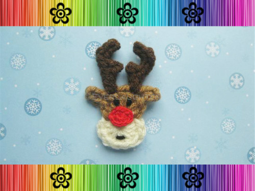 Rudy the Reindeer Applique - Crochet Pattern by EverLaughter