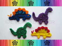 Dino-Rawrs! Applique - Crochet Pattern by EverLaughter