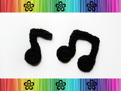 Music Notes Applique - Crochet Pattern by EverLaughter