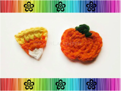 Pumpkin and Candy Corn Applique - Crochet Pattern by EverLaughter